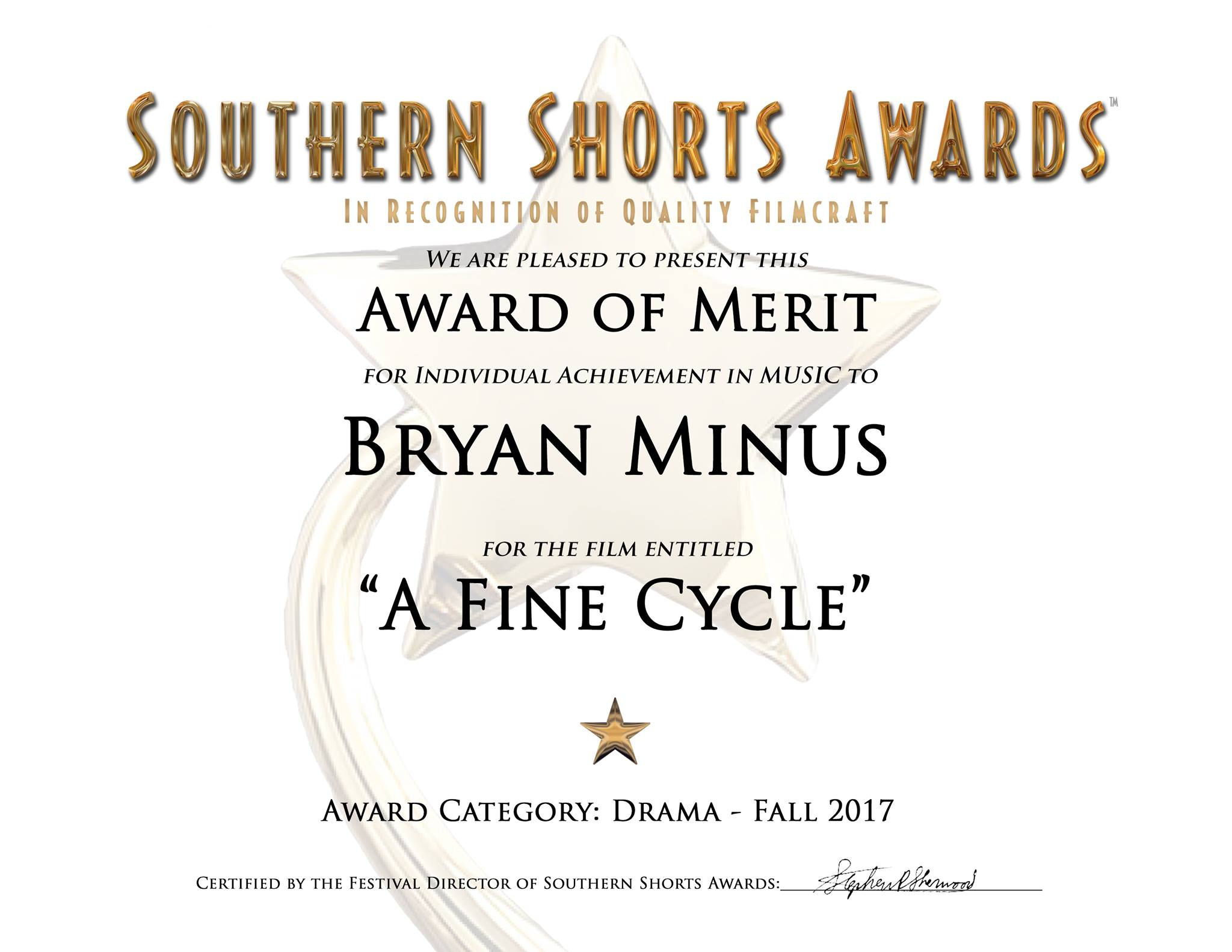 Award of Merit for Individual Acheivement in Music from the Southern Shorts Awards